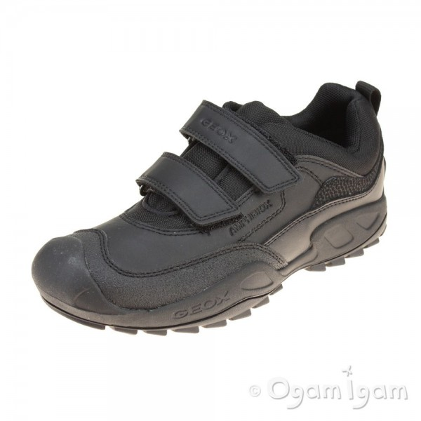 Geox Savage Boys Black Waterproof School Shoe