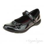 Clarks Venture Star Junior Girls Black Patent School Shoe