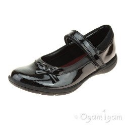 Clarks Venture Star Senior Girls Black Patent School Shoe