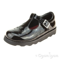 Clarks Crown Wish Girls Black Patent School Shoe