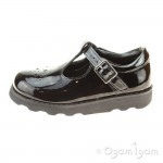 Clarks Crown Wish Girls Black Patent School Shoe