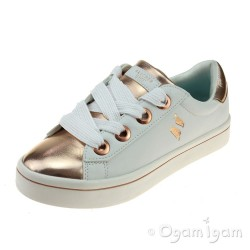 Skechers HiLite Medal Toes Girls White-Rose Gold Shoe