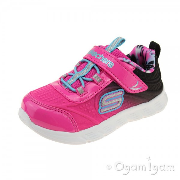 Skechers ComfyFlex Mini Dazzler Girls Hot Pink-Black Trainer