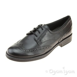 Geox Agata Brogue Girls Black School Shoe