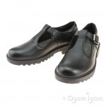 Geox Casey T-Bar Girls Black School Shoe