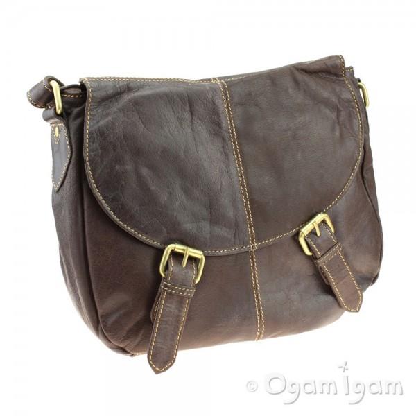 Blousey Brown Womens Brown Leather Satchel Bag