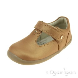 Bobux Louise T-Bar Girls Caramel Shimmer Shoe