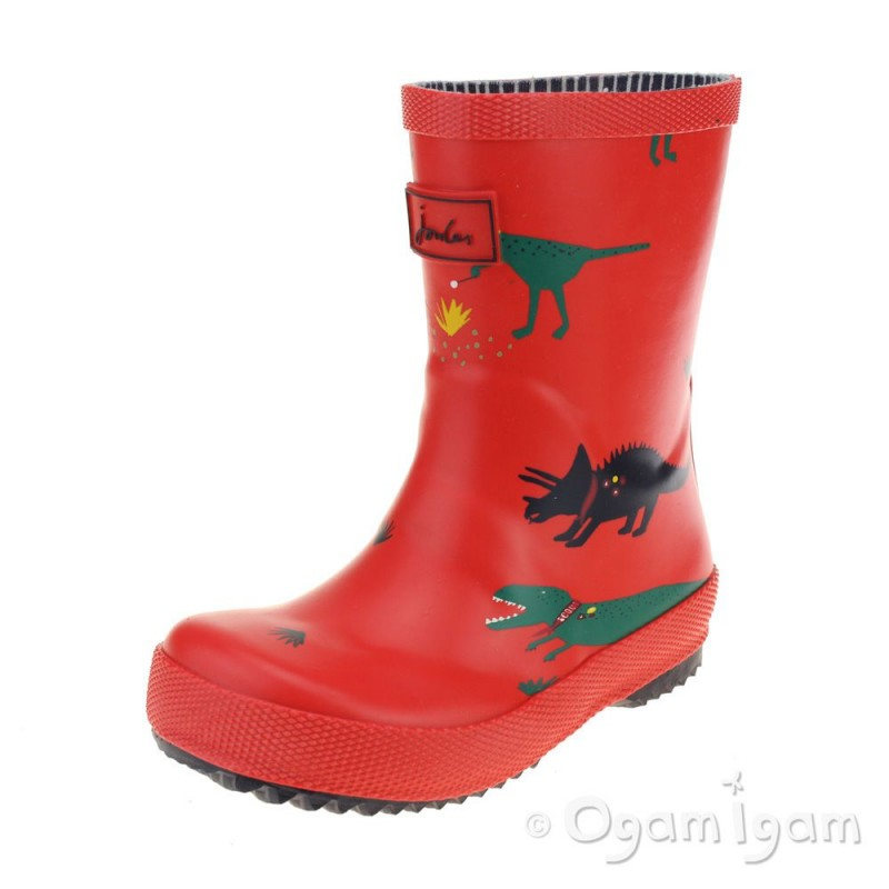 Joules Red Dino Wellington Boot Ogam Igam