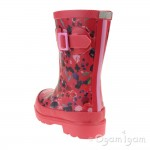 Joules Inky Ditsy Welly Girls Deep Pink Wellington Boot