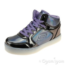 Skechers EnergyLights ShinyBrights Girls Gunmental-Purple Trainer