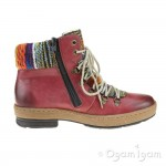 Rieker Z674335 Womens Wine Ankle Boot