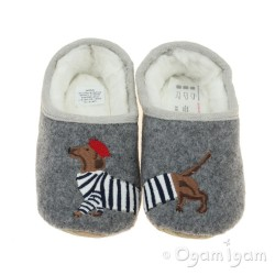 Joules Slippet Dog Girls Grey Dog Slipper