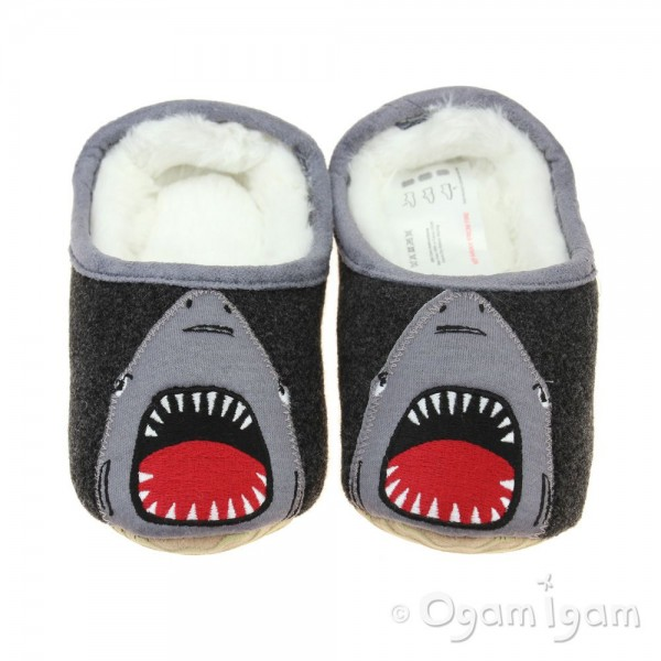 Joules Slippet Shark Boys Grey Slipper