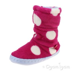 Joules Padabout Girls Raspberry Rose Spot Slipper