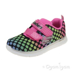 Skechers Skech-Lite Lil Dots Girls Black-Pink Trainer
