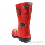 Joules Red Dino Boys Red Wellington Boot