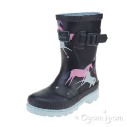 Joules Magic Unicorn Girls Navy Wellington Boot