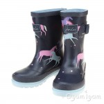 Joules Magic Unicorn Girls Navy Wellington Boot
