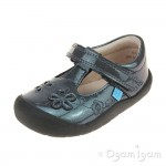 Start-rite First Mia Girls Gunmetal Blue Shoe
