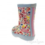 Joules White Ditsy Welly Girls Multi Welly Boot