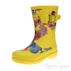 Joules Yellow Floral Girls Yellow Welly Boot