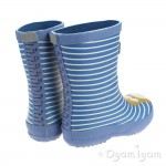 Joules Blue Otter Stripe Boys Blue Welly Boot