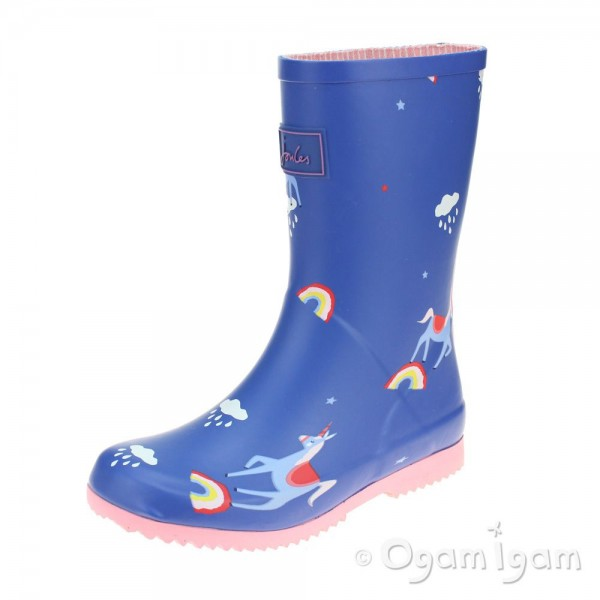 Joules Blue Unicorn Cloud Girls Blue Welly Boot