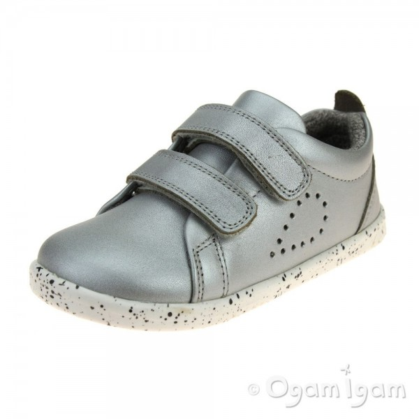 Bobux Grass Court Girls Silver Shoe
