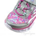 Skechers S Lights Heart Lights Girls Silver-Multi Trainer