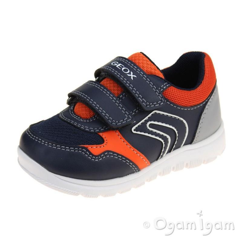 066963a4a9 Geox Xunday Boys Navy-Orange Shoe | Ogam Igam