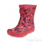 Joules Inky Ditsy Welly Junior Girls Deep Pink Wellington Boot