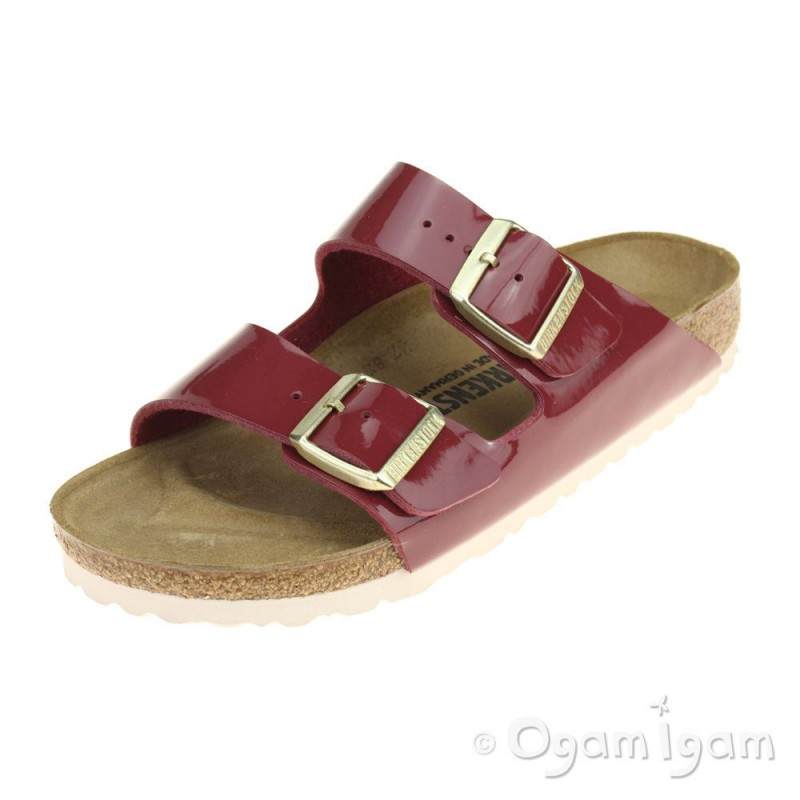 b0a0681425c8 Birkenstock Arizona Patent Bordeaux Womens Red Sandal