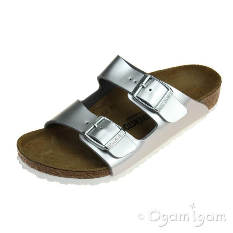 bdc2853e62b2 Birkenstock Arizona Kids Girls Silver Sandal