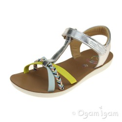 Shoo Pom Goa Salome Girls Silver Sky Lemon Sandal