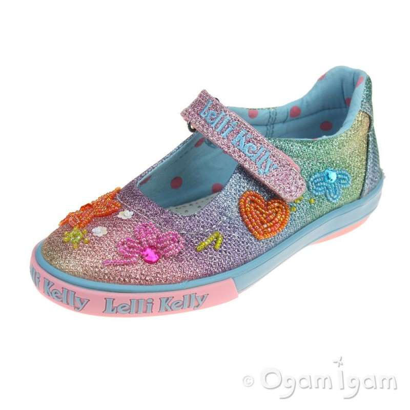 05ce0865638cc Lelli Kelly Rainbow Blossom Girls Multi Glitter Shoe | Ogam Igam