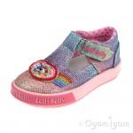 Lelli Kelly Rainbow Sparkle Girls Multi Glitter T-bar Shoe
