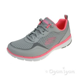Skechers Flex Appeal Go Forward Womens Light Grey-Hot Pink Trainer