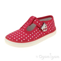 Start-rite Jitterbug Girls Pink Polka Dot Canvas Shoe