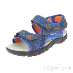 Geox Strada Boys Navy-Orange Sandal