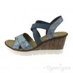 Rieker 6553212 Womens Heaven Blue Wedge Sandal