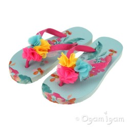 Joules Green Floral FlipFlop Girls Green Pink Sandal