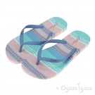 Joules Pink Stripe FlipFlop Womens Pink Turquoise Sandal