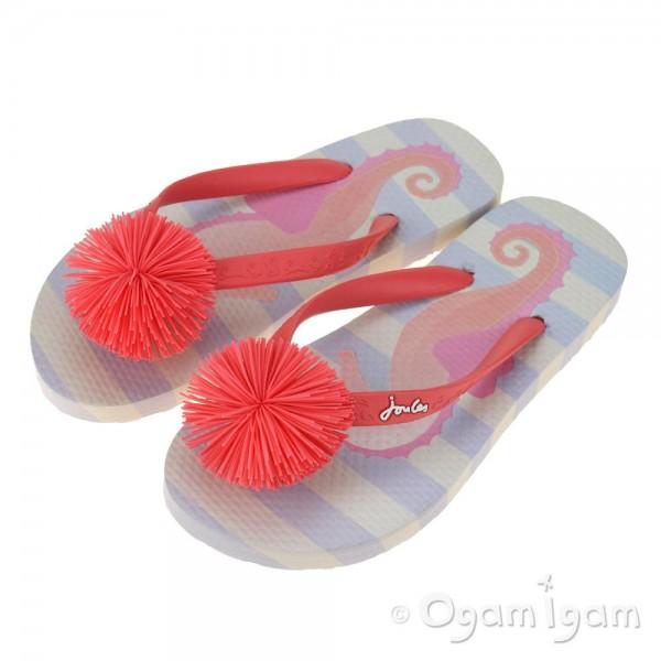 Joules Blue Seahorse FlipFlop Girls Blue Sandal