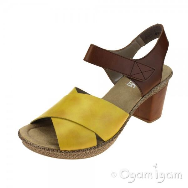 Rieker 665H168 Womens Quince Brown Yellow Sandal