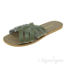 Salt-Water Retro Slide Womens Olive Waterfriendly Sandal