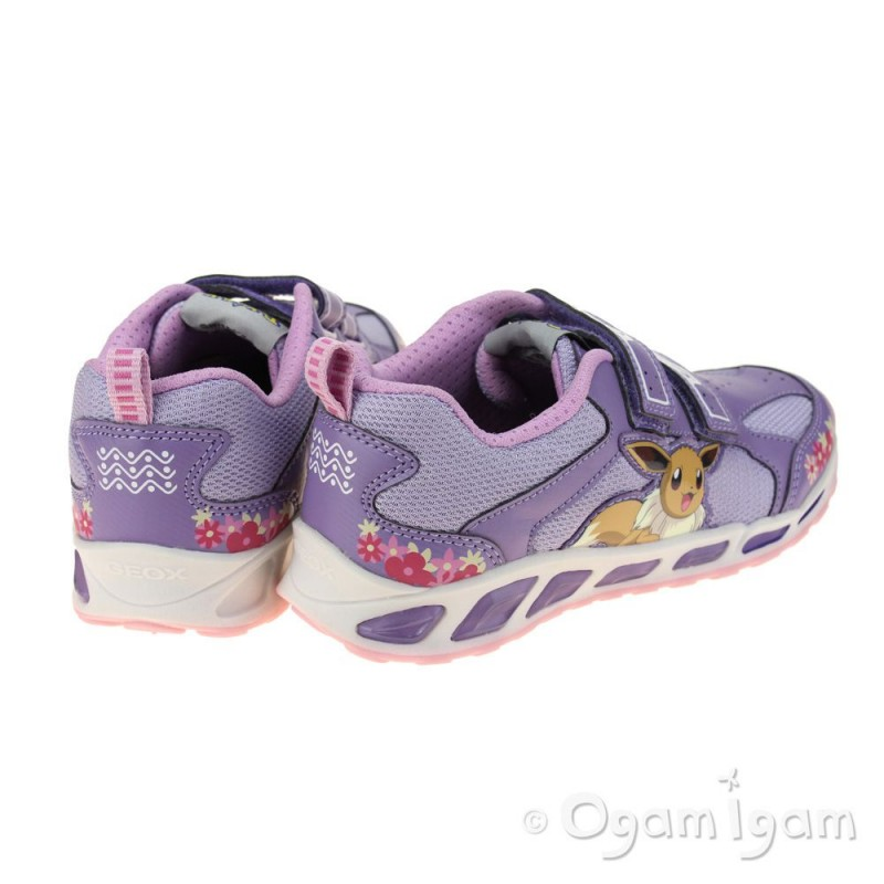 Geox Breathable Light Up Pokemon Eevee Sneakers Jr Shuttle Violet and Lilac