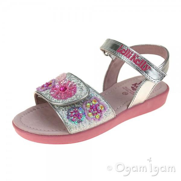 Lelli Kelly Glitter Daisy Girls Silver Sandal
