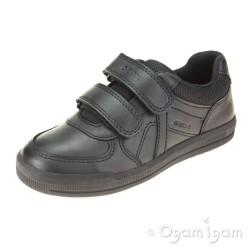 Geox Arzach Boys Black School Shoe