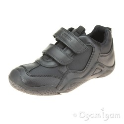 Geox Wader Boys Black School Shoe