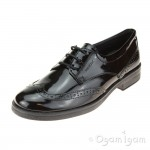 Geox Agata Brogue Girls Black Patent School Shoe